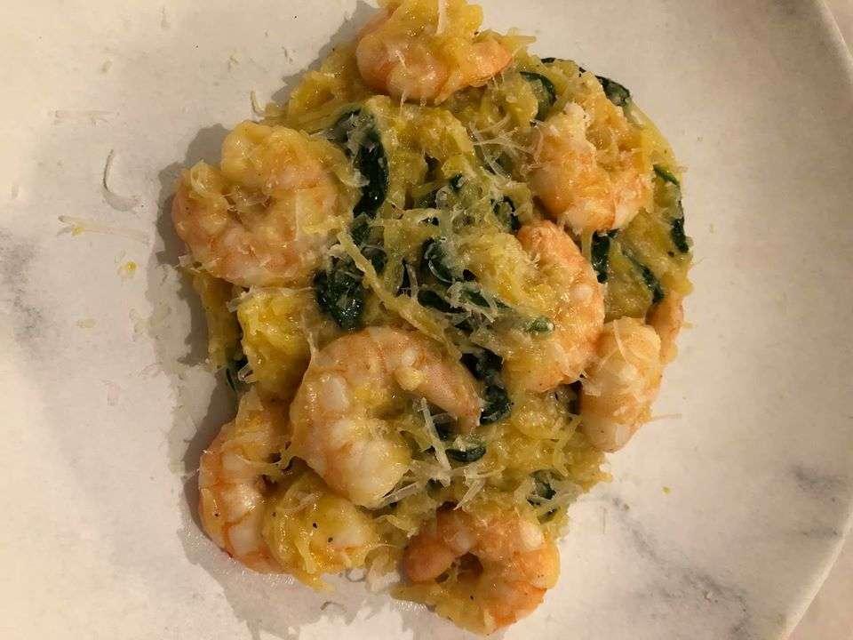 Keto Spaghetti Squash Shrimp Spinach Alfredo